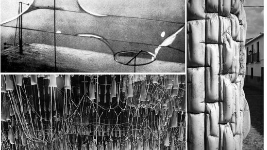 thee black and white photos of a soap bubble model, a gravity model, and a fabric form concrete wall
