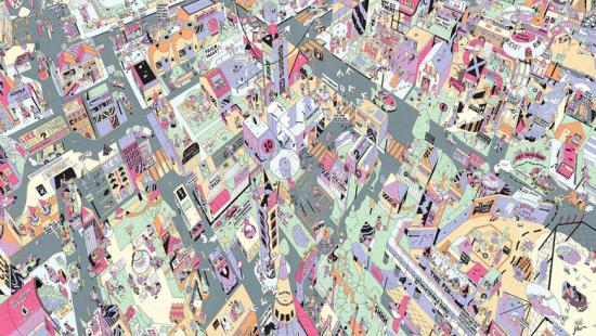 intricate, colorful rendering of city street from an aerial perspective