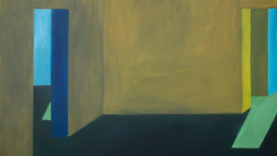 a painting of a room with bar yellow walls with a doorway into a blue room