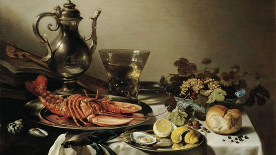 painting of a plate with lobster, silver jug, and fruit