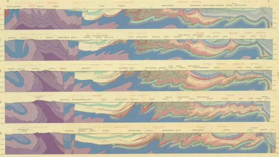 Five topographical map sections