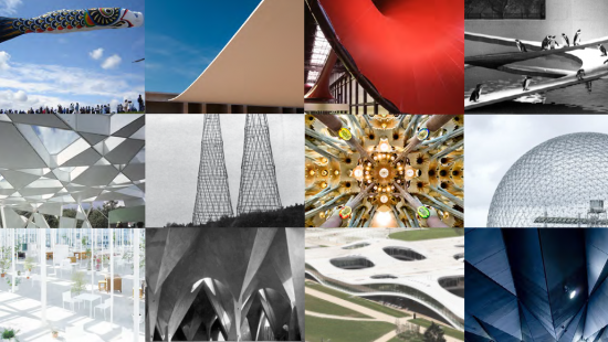 12 photos of geometric or structural details of buildings