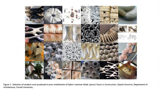 24 photos in a rectangular grid depicting 3D ceramic shapes and woven strands in a variety of colors