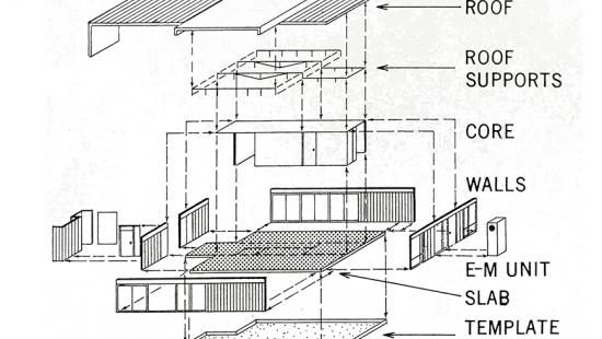 Axiom drawing with roof, roof supports, core, walls, slab, and template forms noted