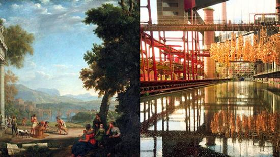 Side by side images of a classical landscape and a modern industrial complex