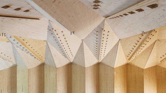 Close-up of angular wooden pieces