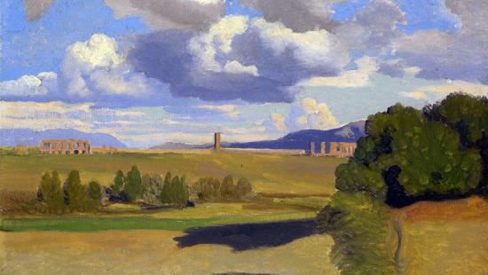 Painting of a countryside with a ruin of an aqueduct in the background and fields in the foreground