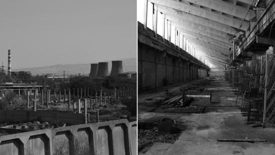 abandoned industrial site on left and abandoned warehouse on right, black and white