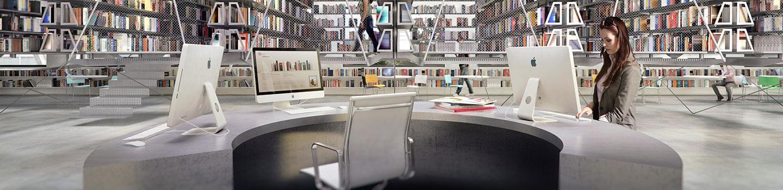 rendering of librarian's desk