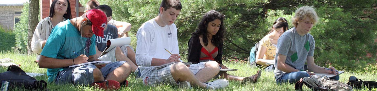 Summer students sketching