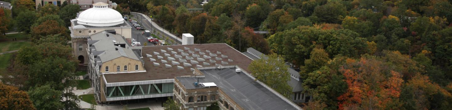 Ariel view of Sibley, Milstein, and Rand halls