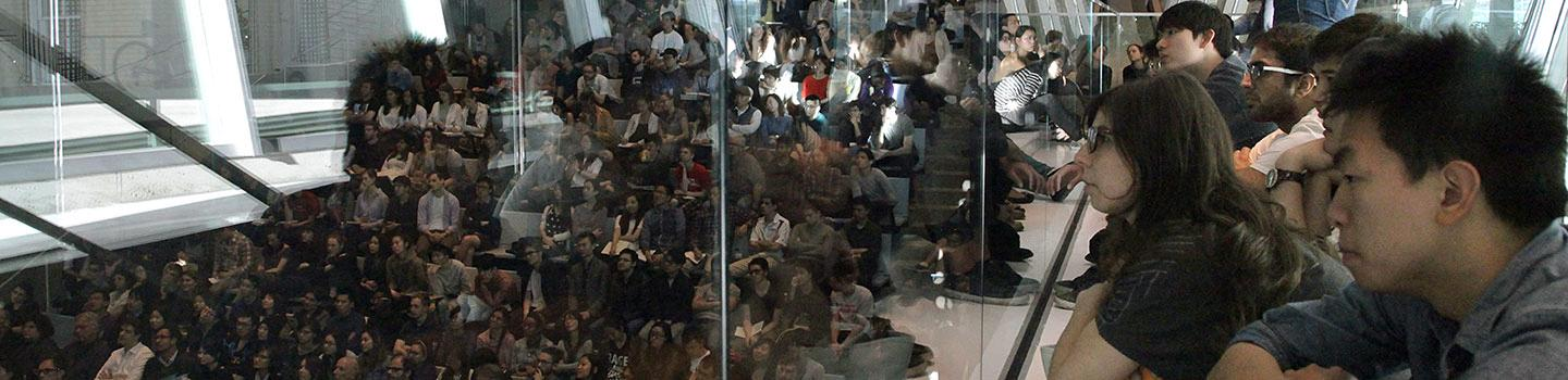 Students filled the balcony for the Kengo Kuma lecture, in the Abby and Howard Milstein Auditorium
