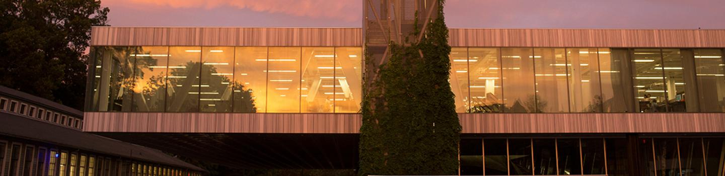 Milstein Hall at sunset