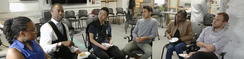 Students and alumni interacting