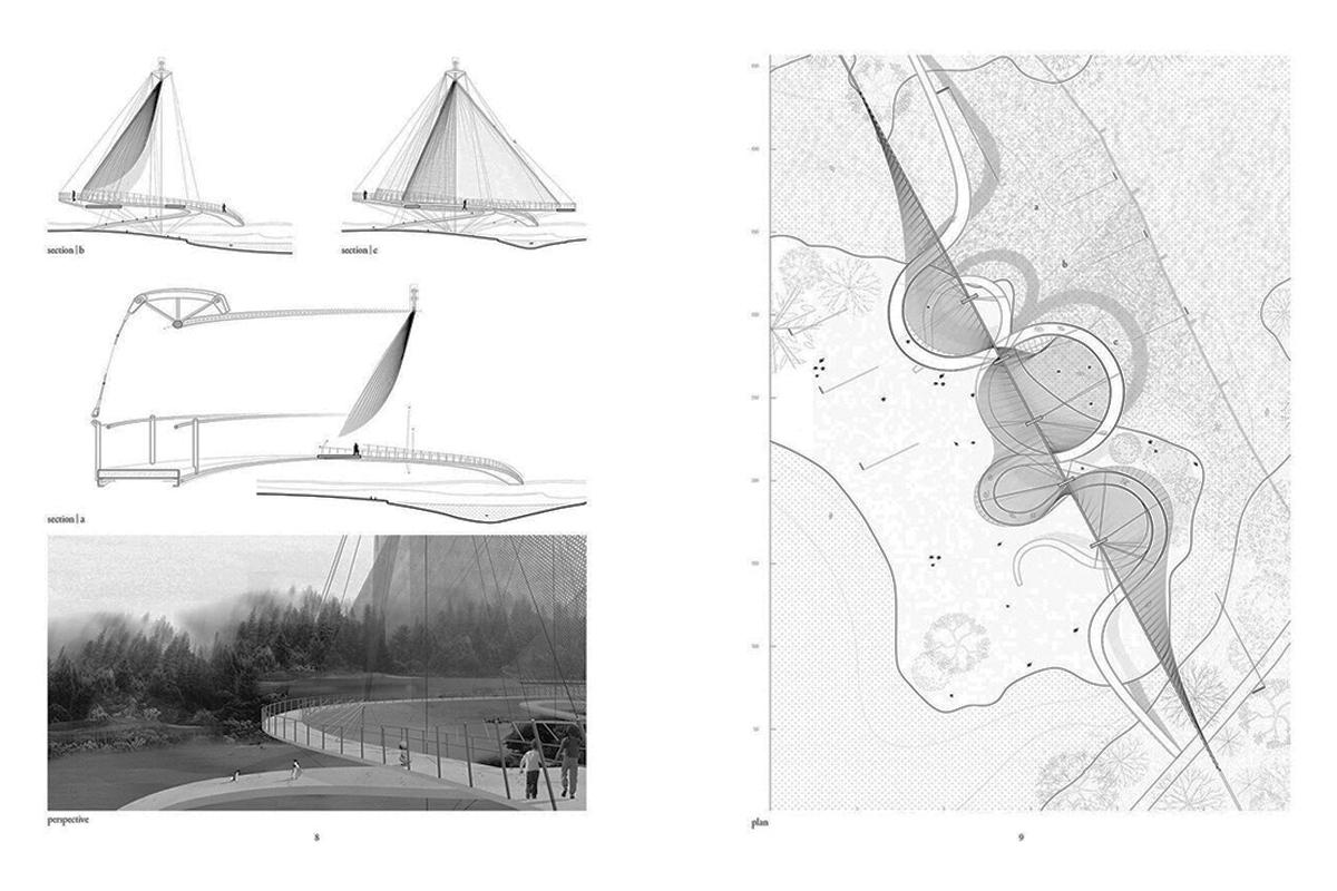A collage of architectural planning drawings showing a triangular bridge like structure.