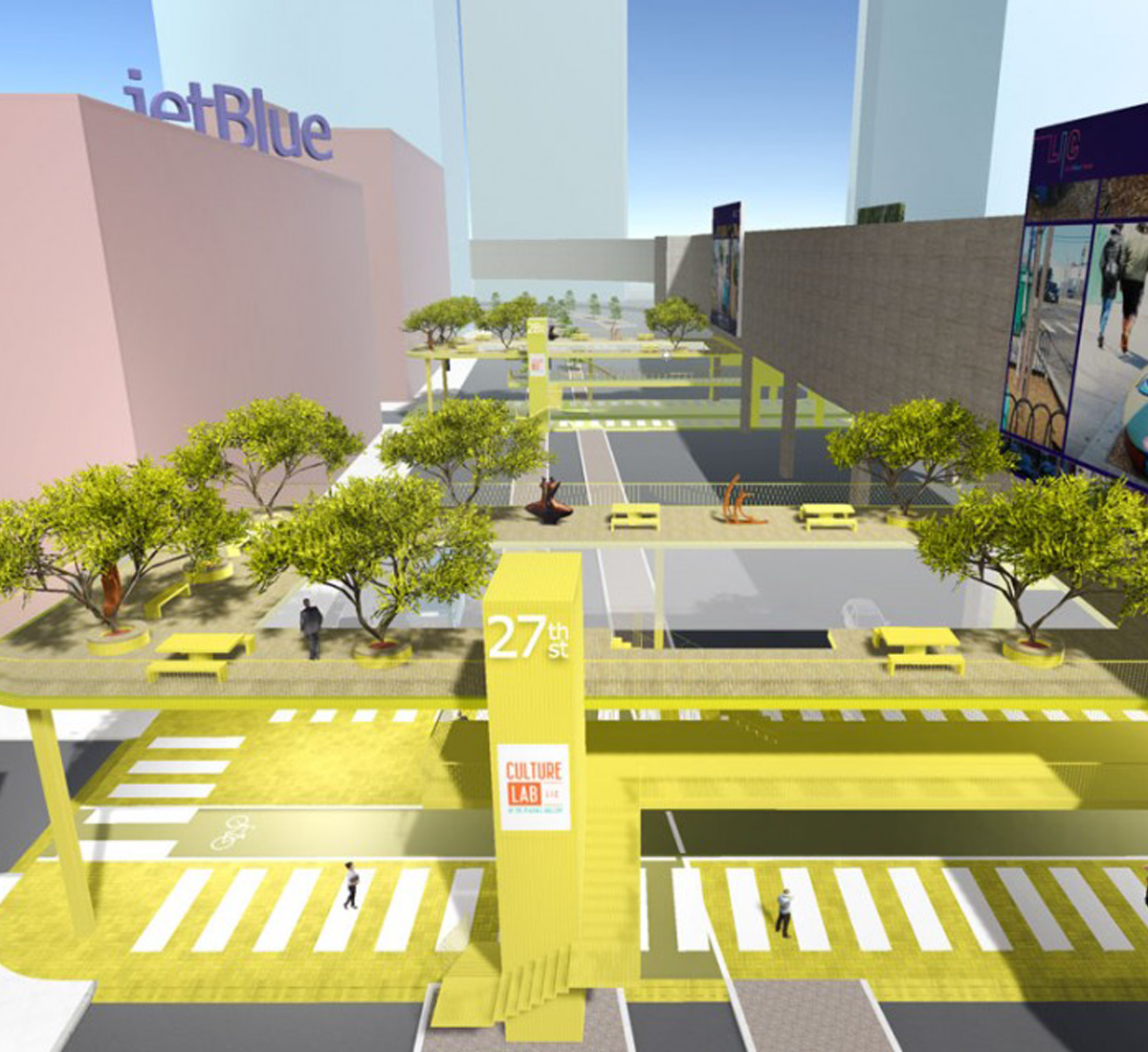 A a large yellow walkway structure with pedestrians and traffic.
