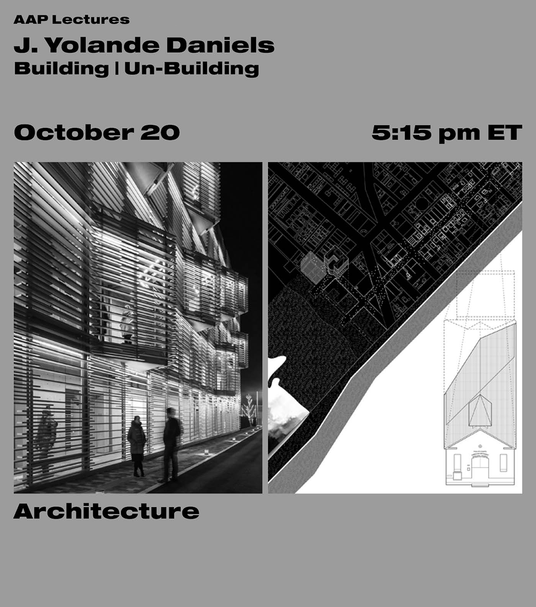 Black text on a grey background with a building on the left side and a diagram on the right.