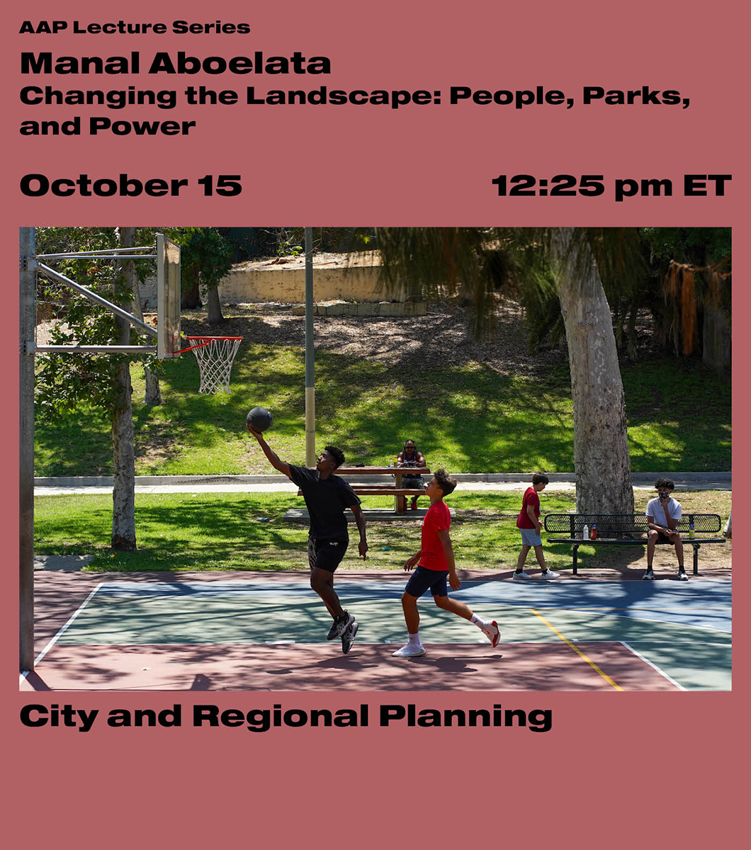 Black text on a pink background with people playing basketball at the park.