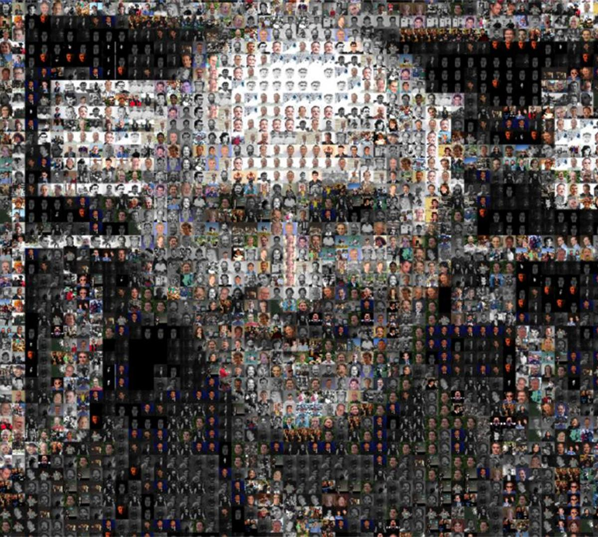 a composite image of a man's face from many former students