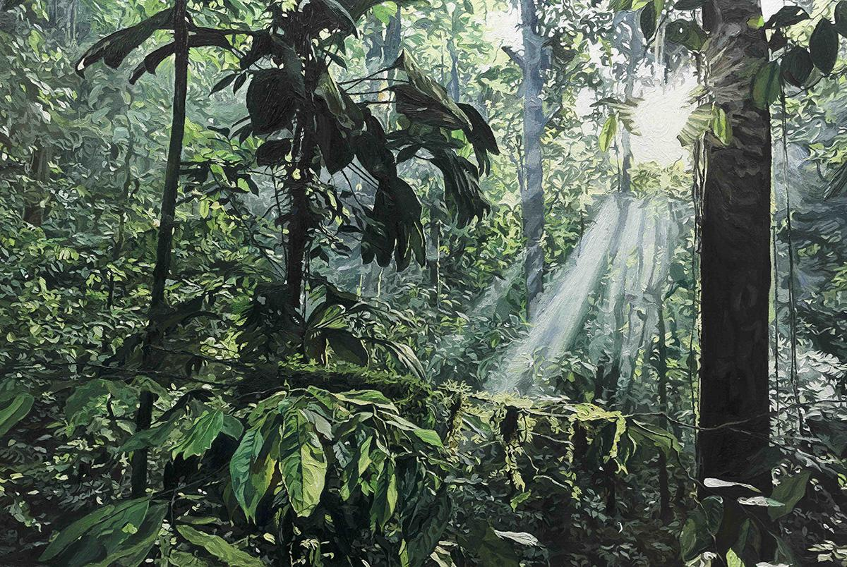 painting of lush green jungle landscape with sun through the trees