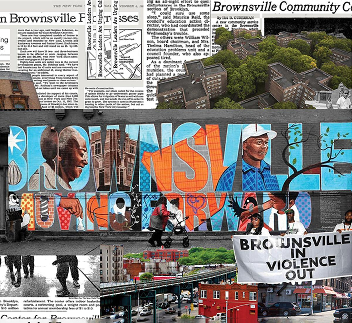 collage of text, housing images, banner images and text images of Brownsville