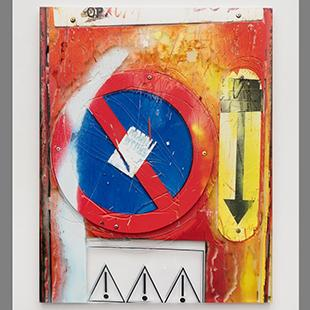 Art print in red, blue, white, and yellow incorporating three road signs