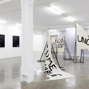 three framed photos of people wearing masks to obscure their faces, and three flags with black text on white fabric in a gallery space
