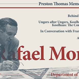 poster with a black and white photo of a man and a drafting table and the text Rafael Moneo