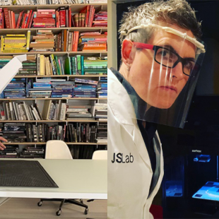 Left image: Man in front of a device in front of colorful book shelf.  Right image: woman wearing a Personal Protection Face Shield