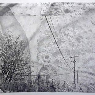 Leafless trees, clouds, and telephone wires in shades of gray on a slightly crumpled paper background