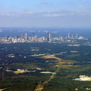 Aerial view of Atlanta, Georgia skyline and surroundings.