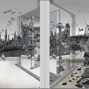 Detailed gray, black, and white drawing of a wall separating a futuristic city and an impoverished scene