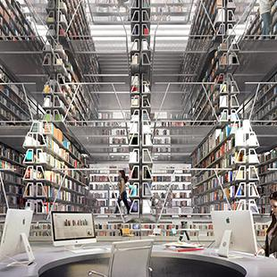 stacks of books in a rendering of a library