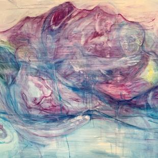 swirling abstract shapes in pastel red, pink, and blue depict an ovoid, mountains, human bodies, and faces