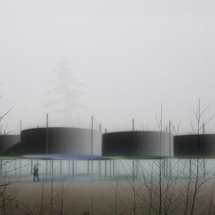 rendering of large cylindrical forms on stilts in a field with mist