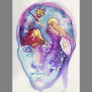 pink, red, purple and blue watercolor painting of a head with figures inside depicting a woman piercing a devil with a sword