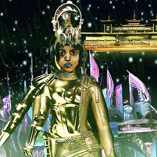 Colorful illustration of a mythical figure in the futuristic cosmos