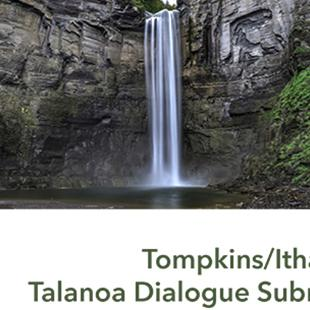 waterfall with Tompkins/Ithaca, NY Talanoa Dialogue Submission written below it