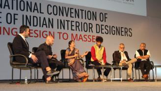 Round table discussion at interior design conference in Indore, India