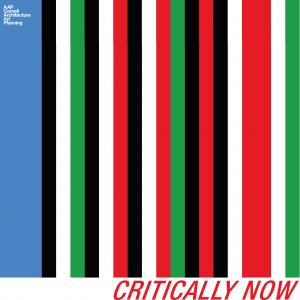red, blue, green, black, and white striped logo of the critically now series