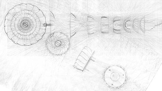 sketch of various views of a vegetable steamer