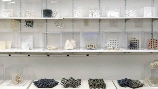 Items in glass boxes sitting on white shelves.