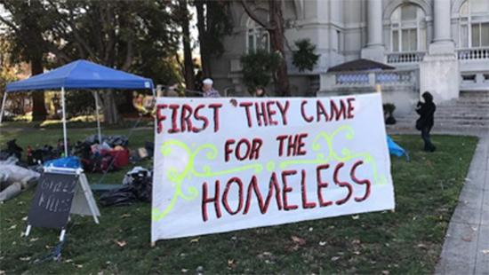 Berkeley homeless camp in front of the old city hall