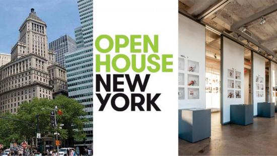 New York City buildings and interior space with Open House New York written in between