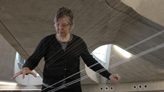Ellen Fullman Long String Instrument performance.