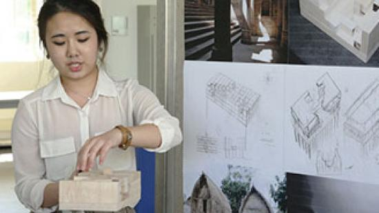 Sophia Lee (B.Arch. '18) presents her project during first-year design reviews.