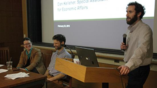 Katelyn Wright, Andrew Bielak, and Daniel Kelleher during the CRP Young Alumni Panel