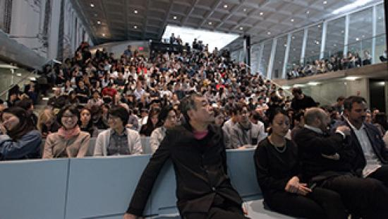 Kengo Kuma in the Abby and Howard Milstein Auditorium