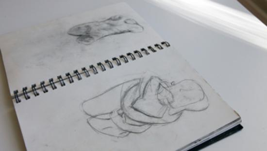 Sketch book featured in the M.F.A. Group show