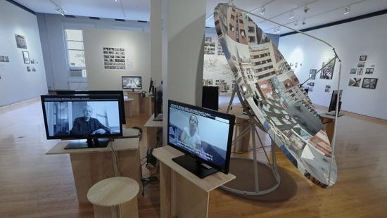 view of a gallery exhibit with 2- and 3D work
